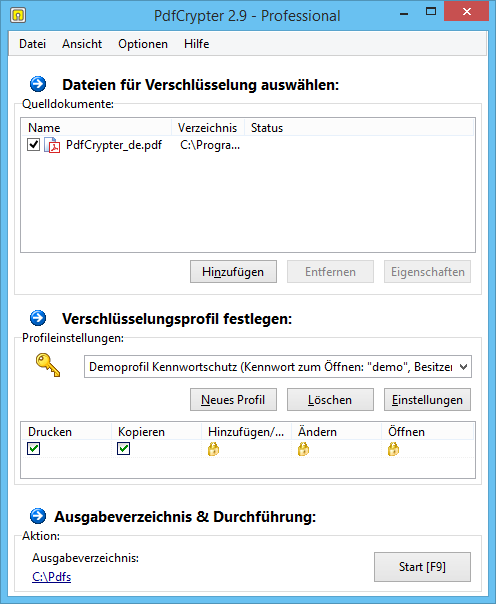 PdfCrypter Hauptfenster