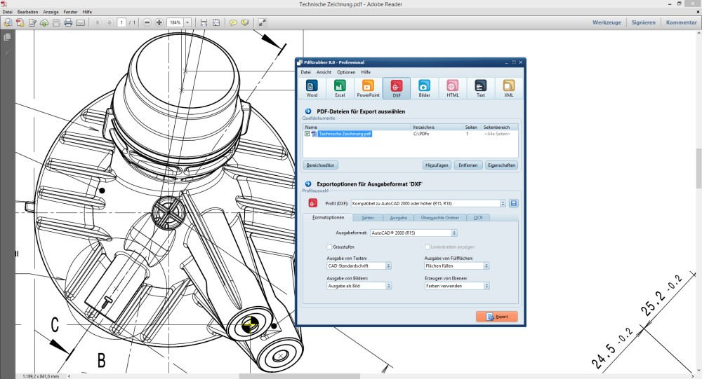PDF in CAD umwandeln mit PdfGrabber - Screenshot