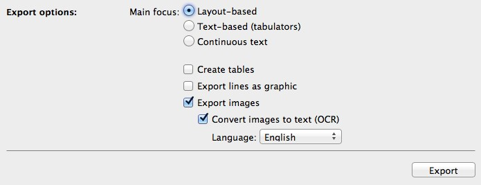 PdfGrabber Mac-Edition export options