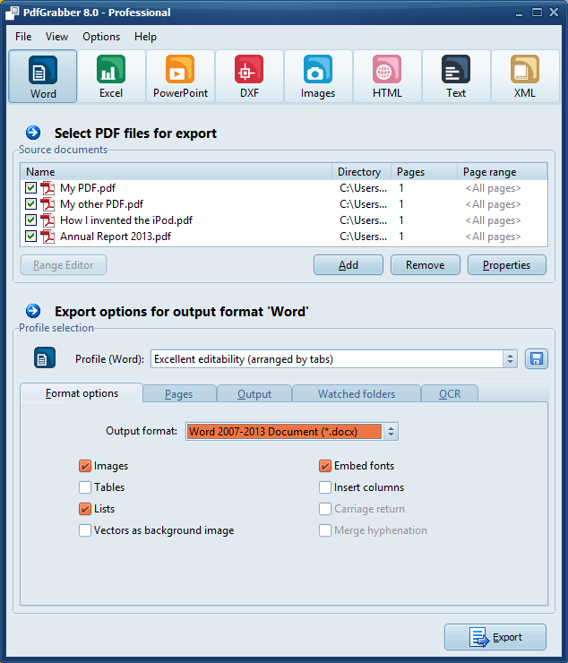 PdfGrabber Screenshot with selected PDF to Word profile