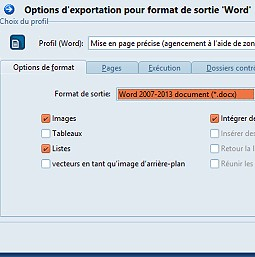 Options d'exportation