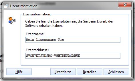 Fenster Lizenzinformationen