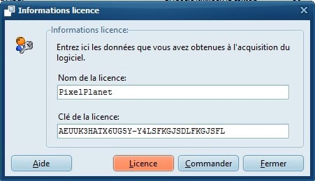 Informations licence