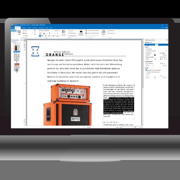 PdfEditor - Hauptfenster mit zur Bearbeitung ausgewähltem Text
