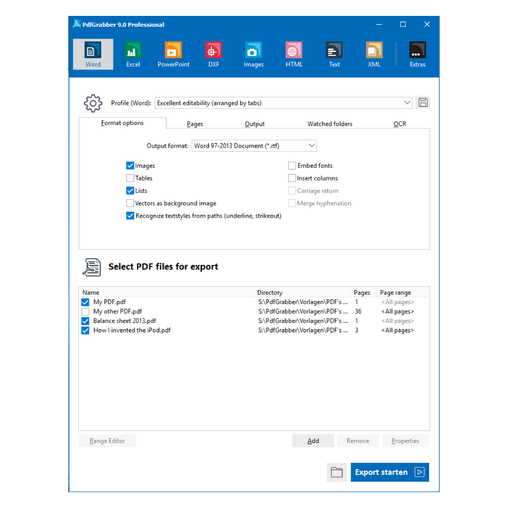 PdfGrabber 9.0 - Main window