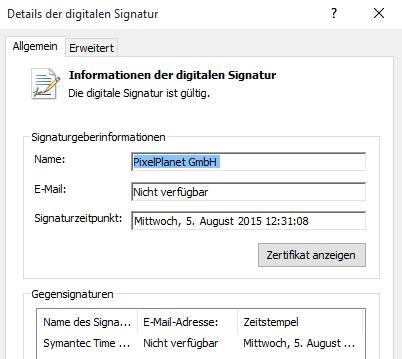 Screenshot: Details der digitalen Signatur