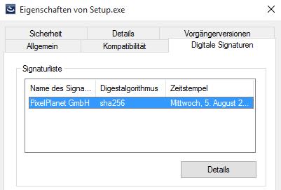 "Registerkarte ""Eigenschaften von Setup.exe"""