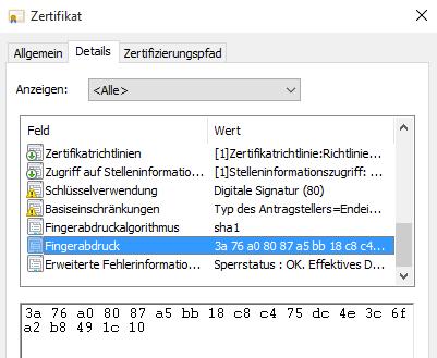 Screenshot: Fingerabdruckt der digitalen Signatur