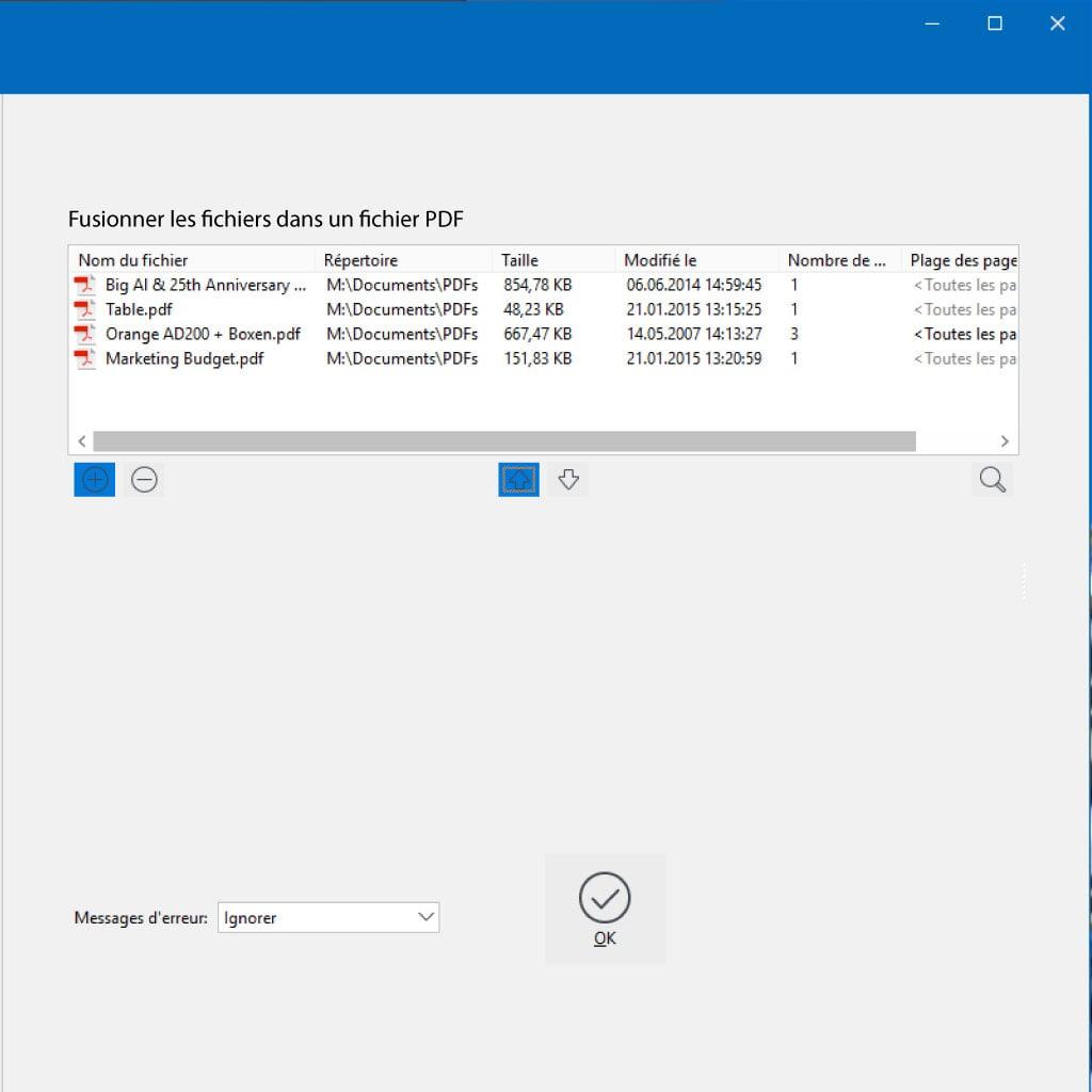 Fusion de documents PDF (Merger)