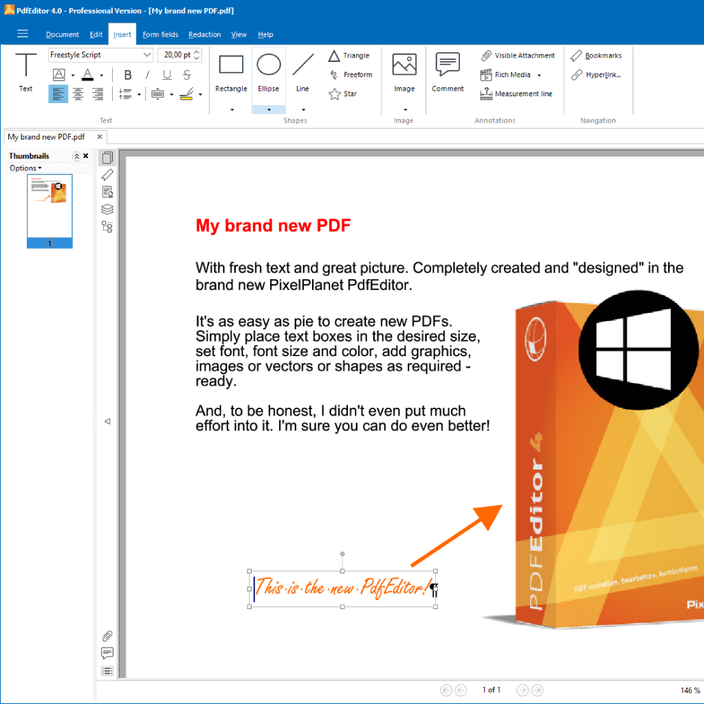 Screenshot (Zoom): brand new created PDF and opened in PdfEditor