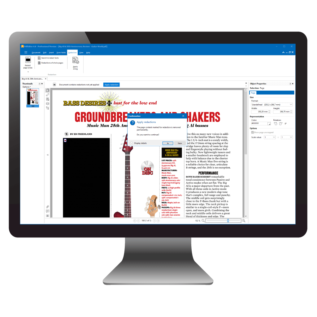 Delete Text in PDF files by redaction