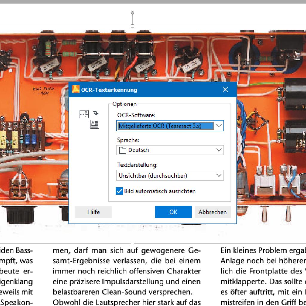 Screenshot (Zoom): Einstellungen für OCR Texterkennung im PDF