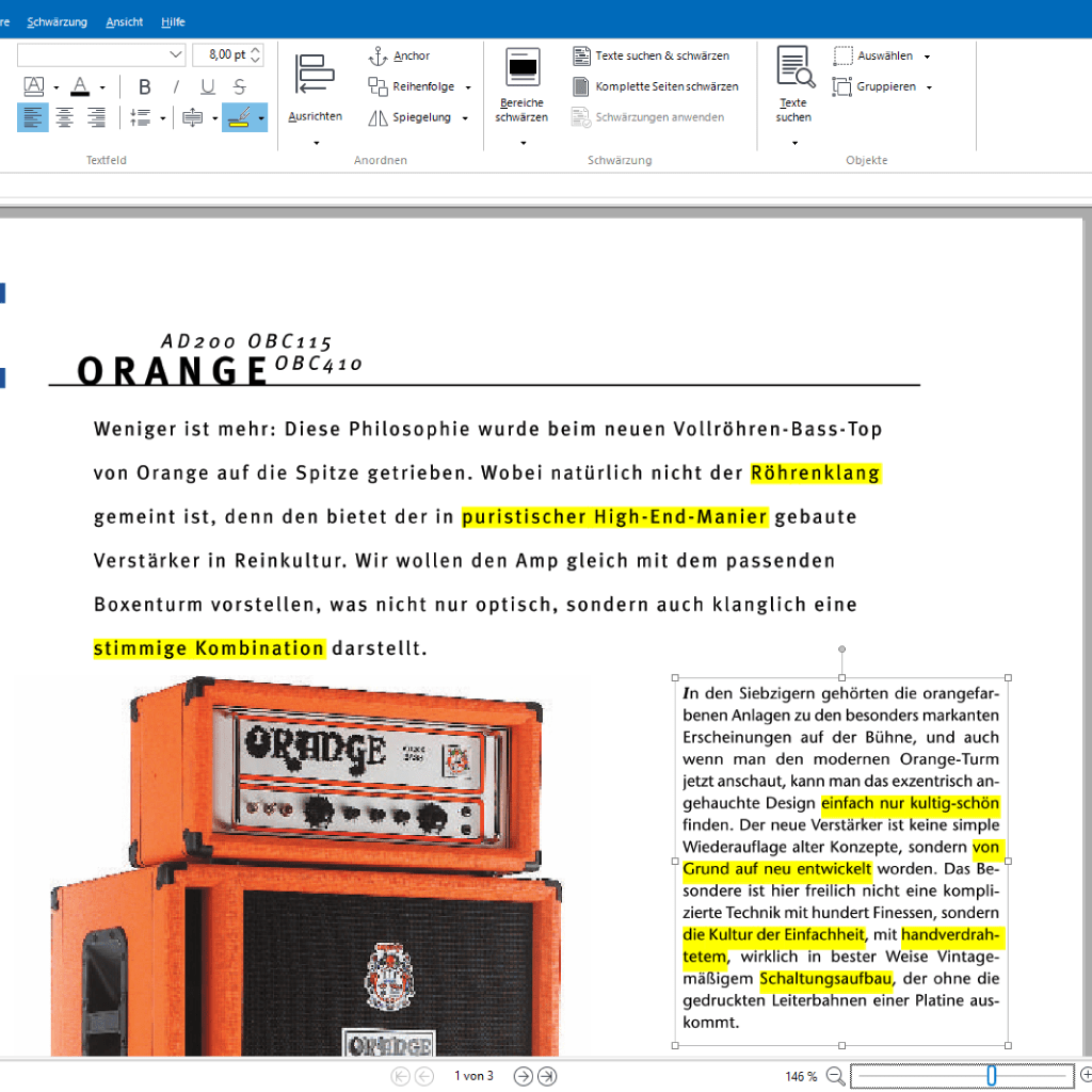Screenshot (Zoom): Text wie mit einem Textmarker markieren mit PdfEditor