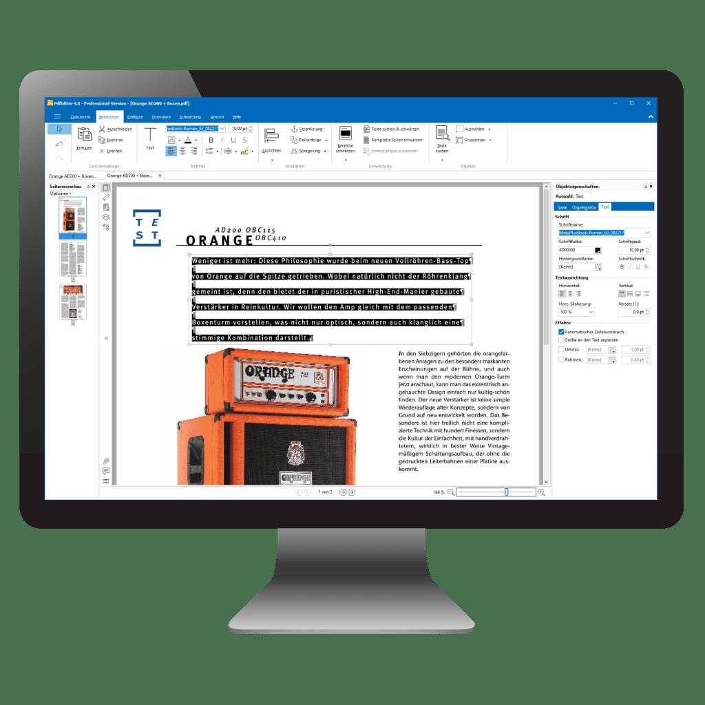 PC mit PdfEditor: geöffnetes PDF mit ausgewähltem Text