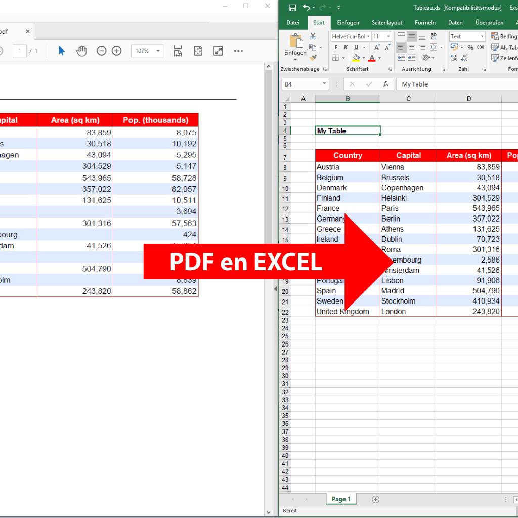 Comparaison: PDF en Excel (PdfGrabber)