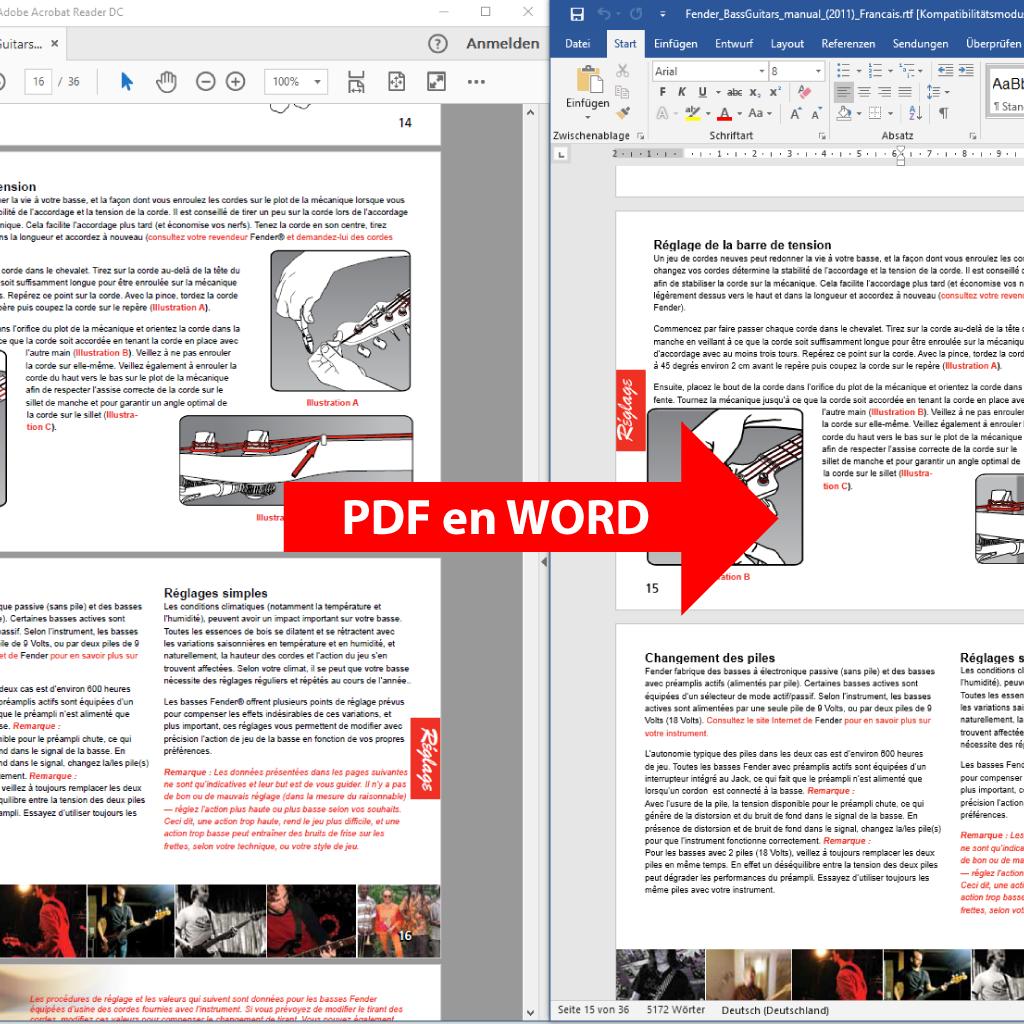 Comparaison: PDF en WORD (PdfGrabber)
