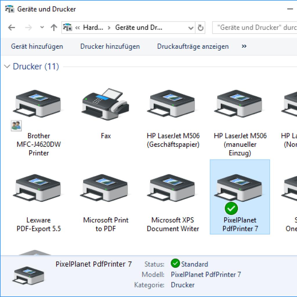 Screenshot (Zoom): PdfPrinter in der Systemsteuerung