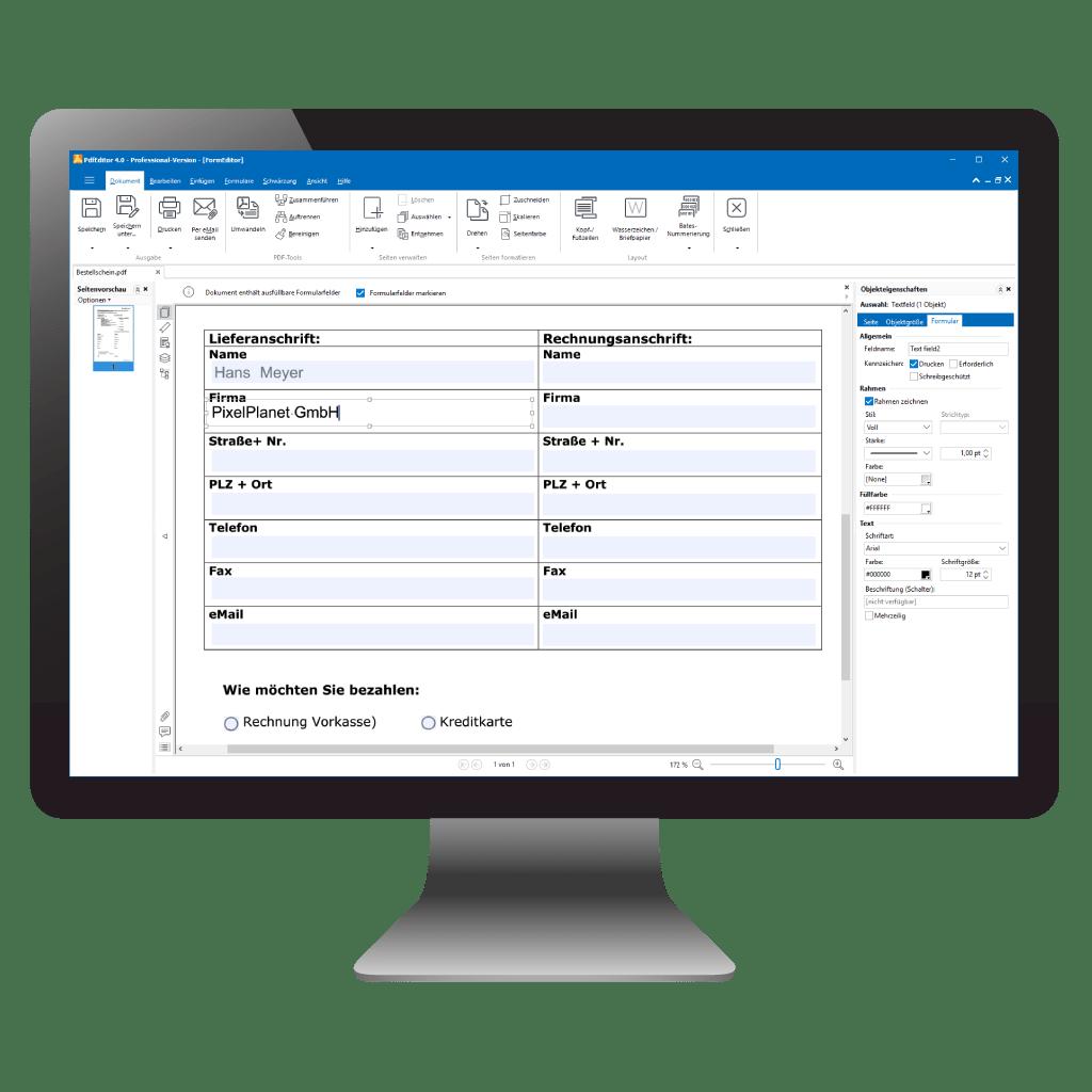 PdfEditor Hauptfenster mit geöffnetem PDF-Formular-Designer