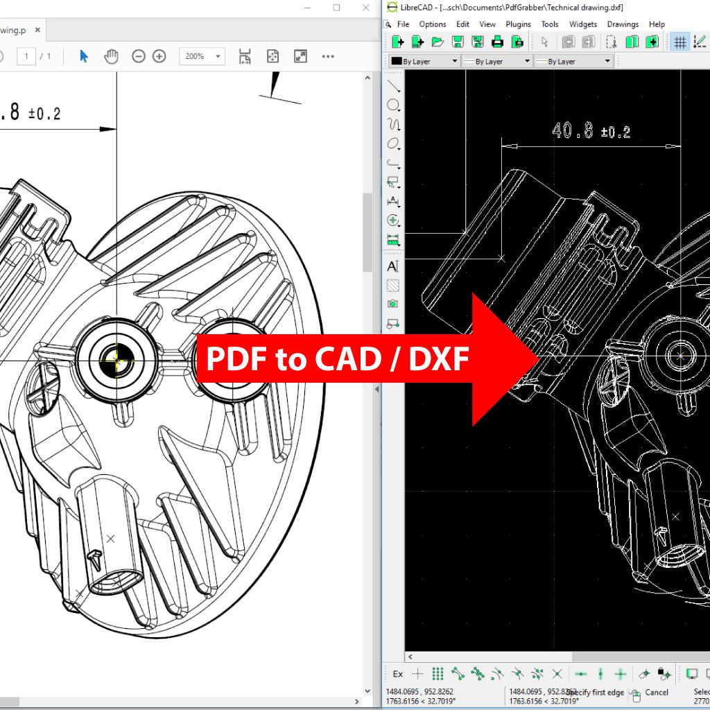 Comparaison (zoom) : PDF en CAO / DXF / AutoCAD (PdfGrabber)