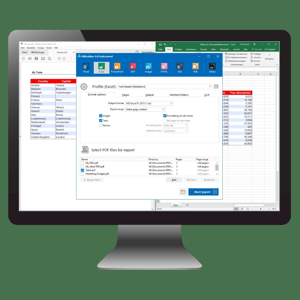 Comparison: PDF to Excel (PdfGrabber)