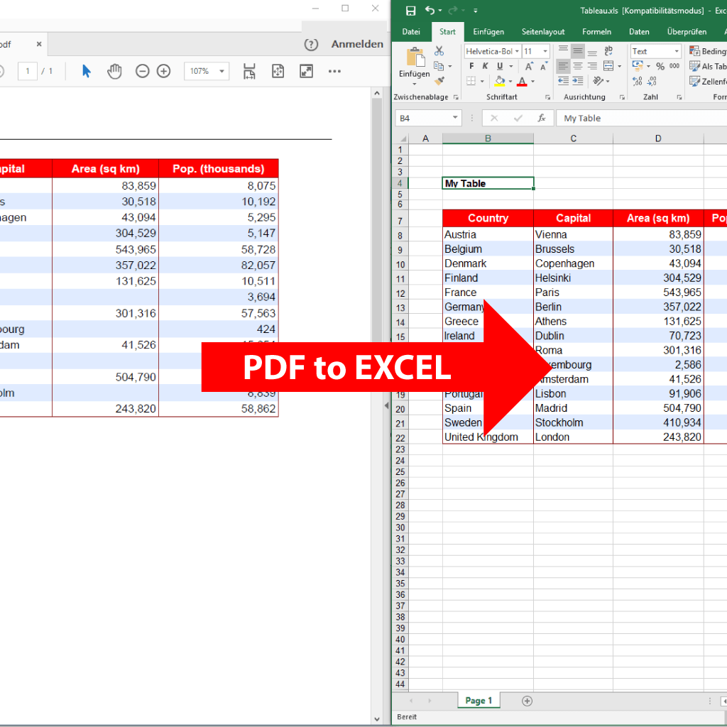 Comparison (zoom) : PDF to Excel (PdfGrabber)