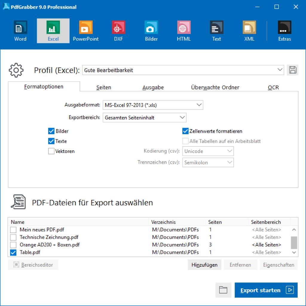 PdfGrabber Hauptfenster mit ausgewähltem Excel-Export-Profil