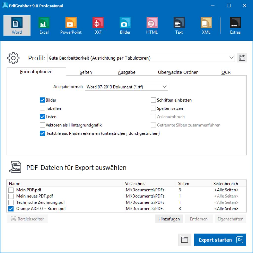 PdfGrabber Hauptfenster mit ausgewähltem Word-Export-Profil
