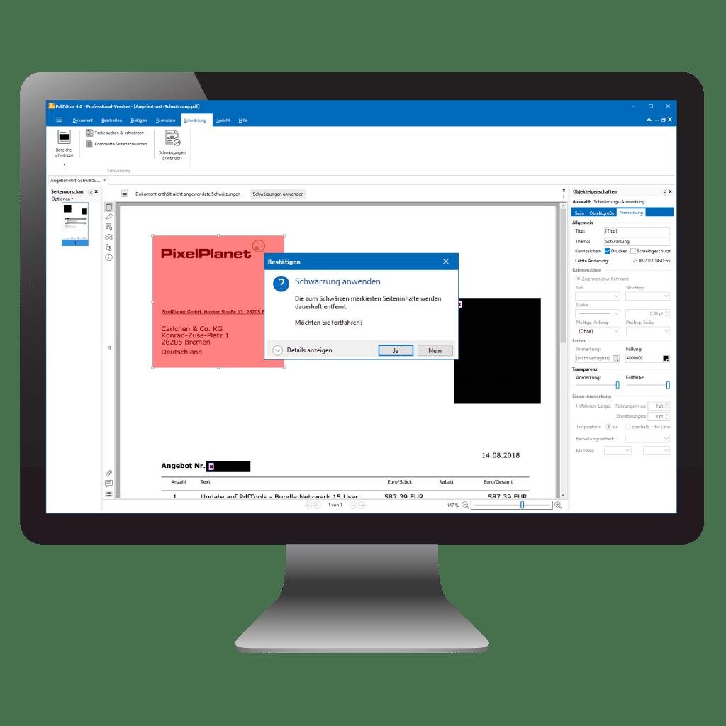Text und andere Inhalte im PDF löschen mit PdfEditor