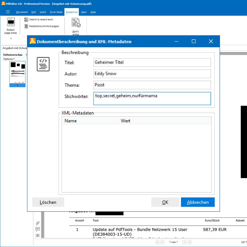 Screenshot (Zoom): Meta Informationen und Daten im PDF anzeigen und löschen