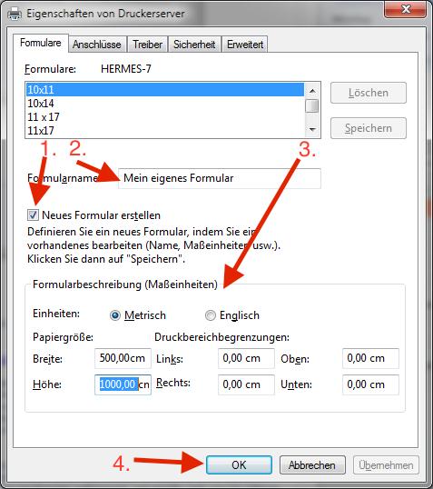 Neue Papiergröße im Windows Druckerserver für PdfPrinter anlegen
