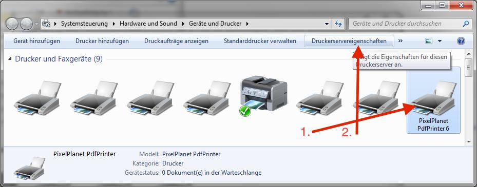 Systemsteuerung -- Druckerservereigenschaften bearbeiten