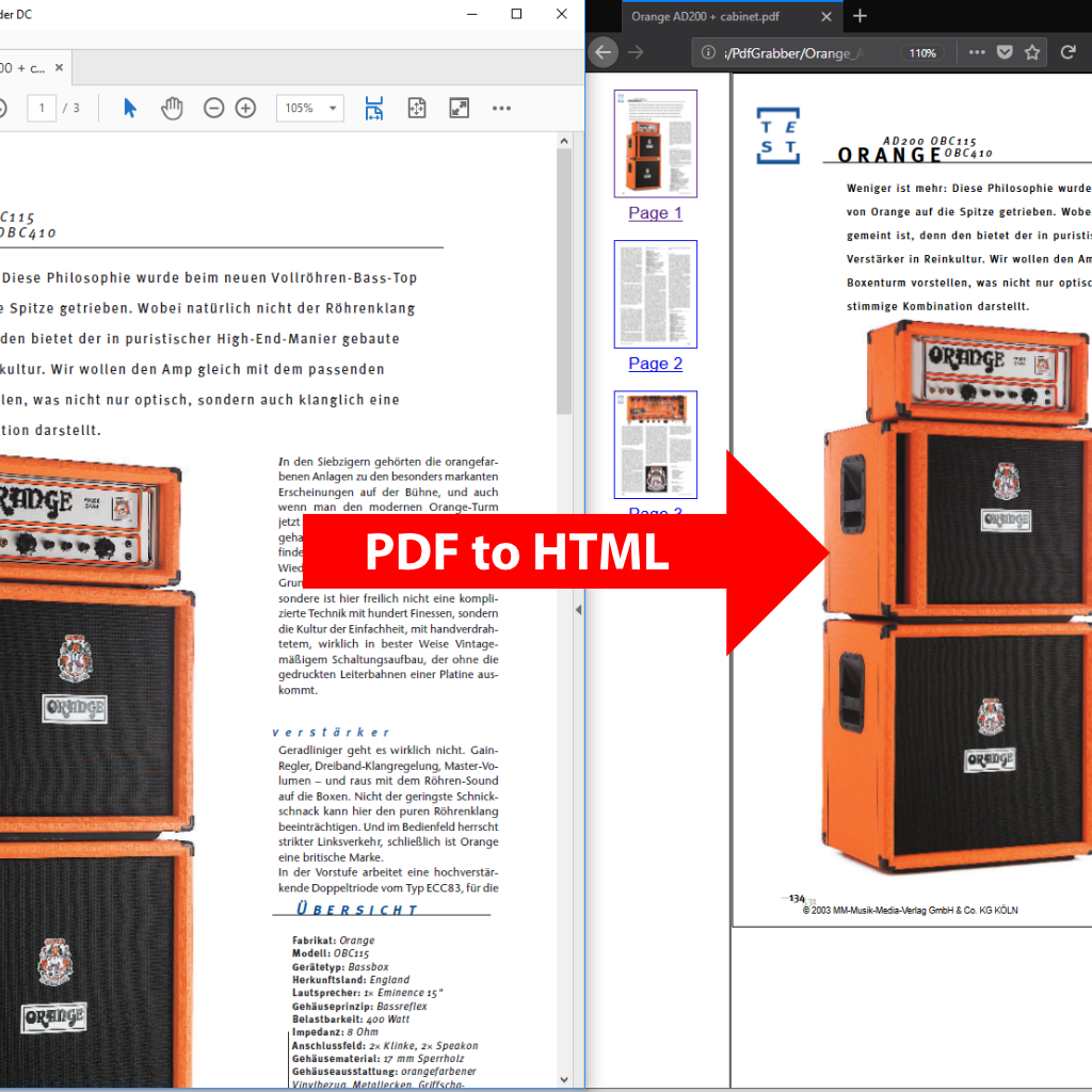 Comparison (Screenshot): PDF to HTML5