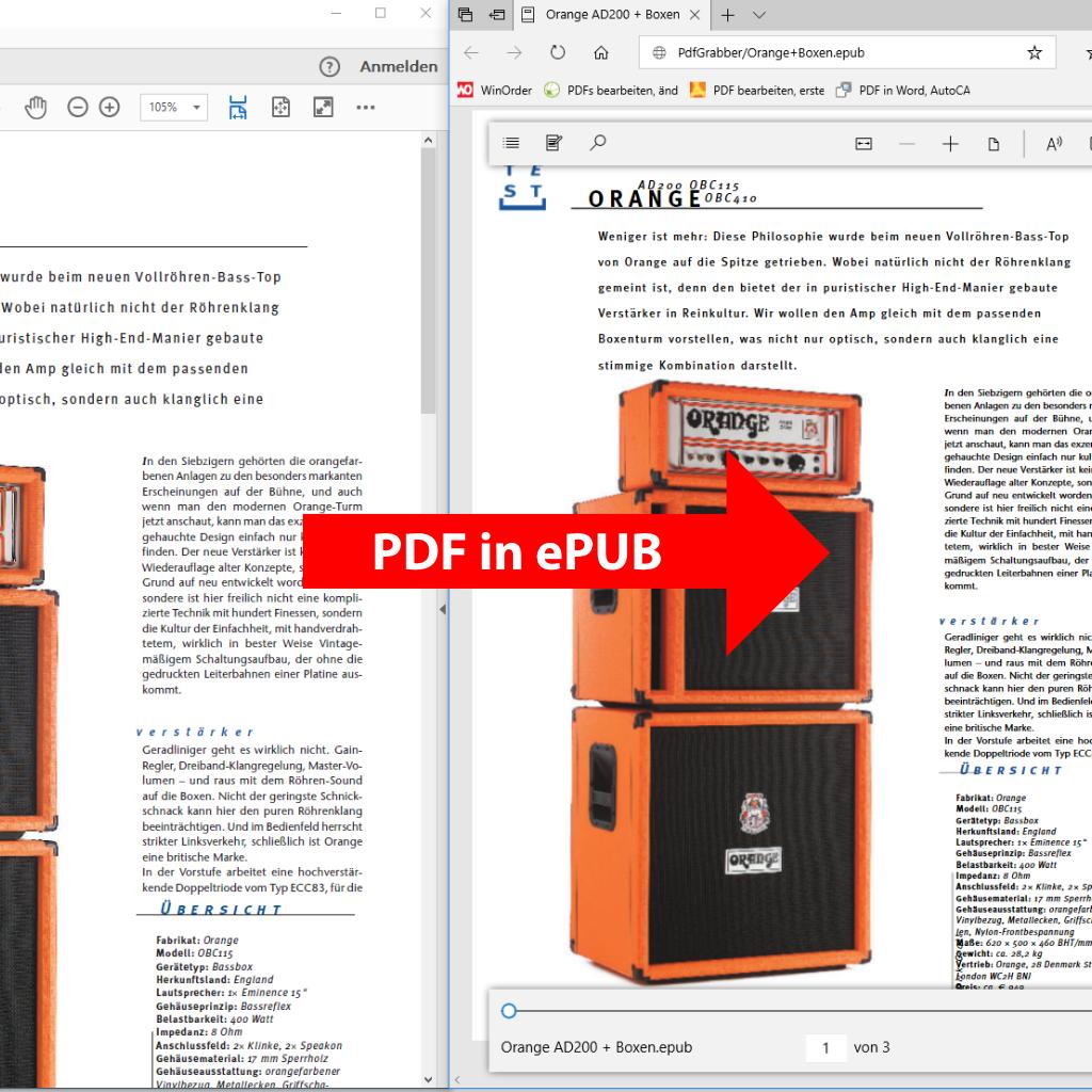 Screenshot (Vergleich): PDF in ePUB / eBook umwandeln