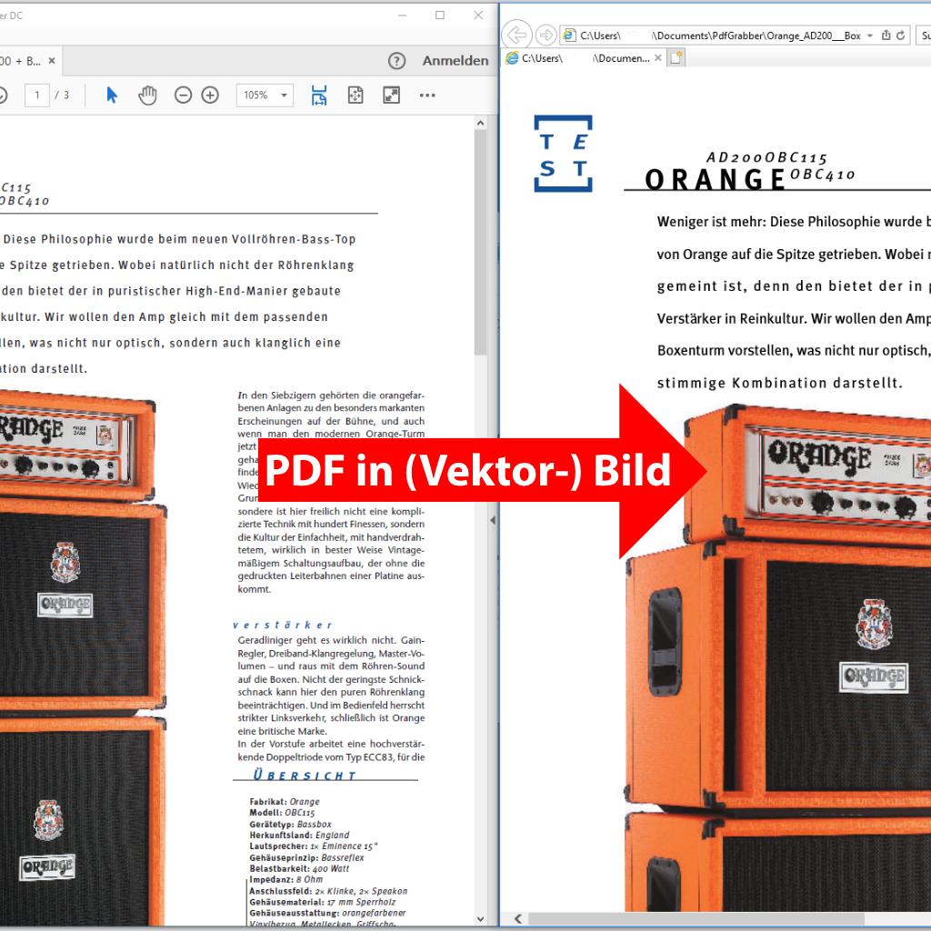 Screenshot (Vergleich): PDF in ein Vektorbild umwandeln