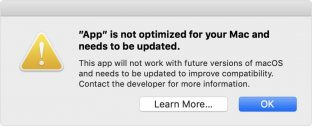 Screenshot (macOS): PdfGrabber ist not optimized for your Mac and needs to be updated